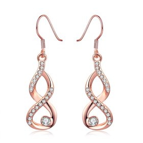 Wholesale Fashion simple Zirconia dangle Earrings rose Gold Color Plated 8 Shape Geometric Earrings for Women Jewelry Gifts TGGPDE003