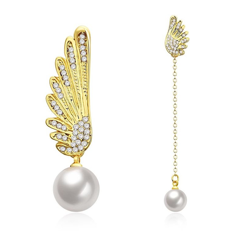 Wholesale Classic Gold Christmas Wing Stud Earring Fashion Ladies Simple Asymmetric Angel Wings Pearls Drop woman Earrings TGGPE282