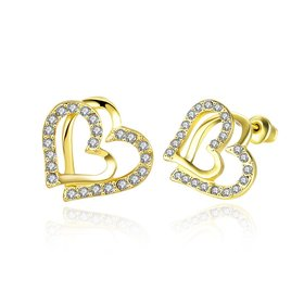Cute gold plated Cubic Zirconia Irregular Love Heart Shaped double Stud Earrings Jewelry Gifts for Women