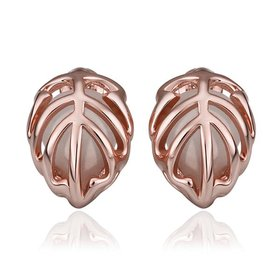 Trendy Rose Gold Plated Fine Jewelry Stud Earrings Leaf shape Oval Gemstone Ear Studs jewelry
