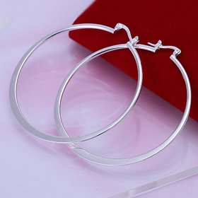 Wholesale Classic Trendy Silver plated Circle Hoop Earrings Round Stylish Earrings for women Engagement Christmas Gift TGHE004