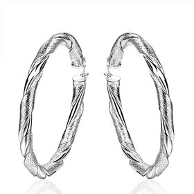 Wholesale Trendy Silver Round twist shape Hoop Earring For Women Lady Best Gift Fashion Charm Engagement Wedding Jewelry TGHE029