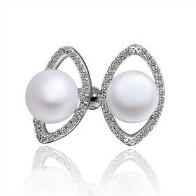 Wholesale Classic Platinum big Pearl Stud Earring  Simpl Elegant Accessories Wedding Party Anniversary Gift Love Jewelry TGPE005