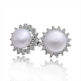 Wholesale Classic Platinum big Pearl Stud Earring  Simpl Elegant Accessories Wedding Party Anniversary Gift Love Jewelry TGPE006