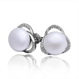 Wholesale Fashion wholesale jewelry China Platinum Pearl Stud Earring  Simpl Elegant Accessories Wedding Party Anniversary Gift  TGPE008
