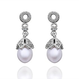 Wholesale Romantic Platinum Water Drop Pearl Stud Earring  Simpl Elegant Accessories Wedding Party Anniversary Gift Love Jewelry TGPE010