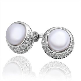 Wholesale Fashion wholesale jewelry China Platinum Pearl Stud Earring  Simpl Elegant Accessories Wedding Party Anniversary Gift  TGPE013
