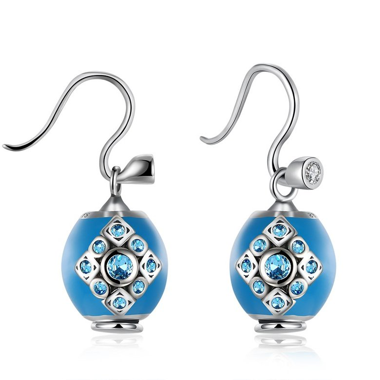 Wholesale Bohemian style popular 925 Sterling Silver round ball dangle earring blue Earrings For Women Banquet fine gift TGSLE153