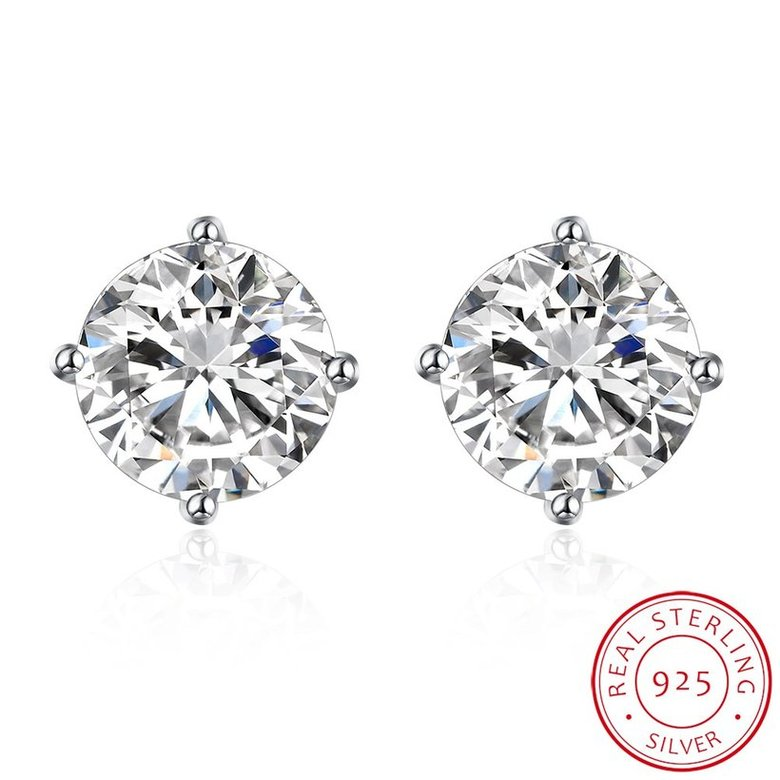 Wholesale Trendy AAA Zircon Crystal Round Small Stud Earrings Wedding 925 Sterling Silver Earring for Women Girls Fashion Jewelry Gift TGSLE006