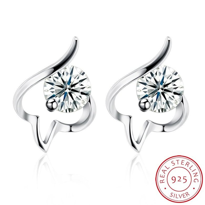 Wholesale Trendy Creative Female Small Stud Earrings 925 Sterling Silver delicate shinny Crystal Earrings Wedding party jewelry wholesale TGSLE079
