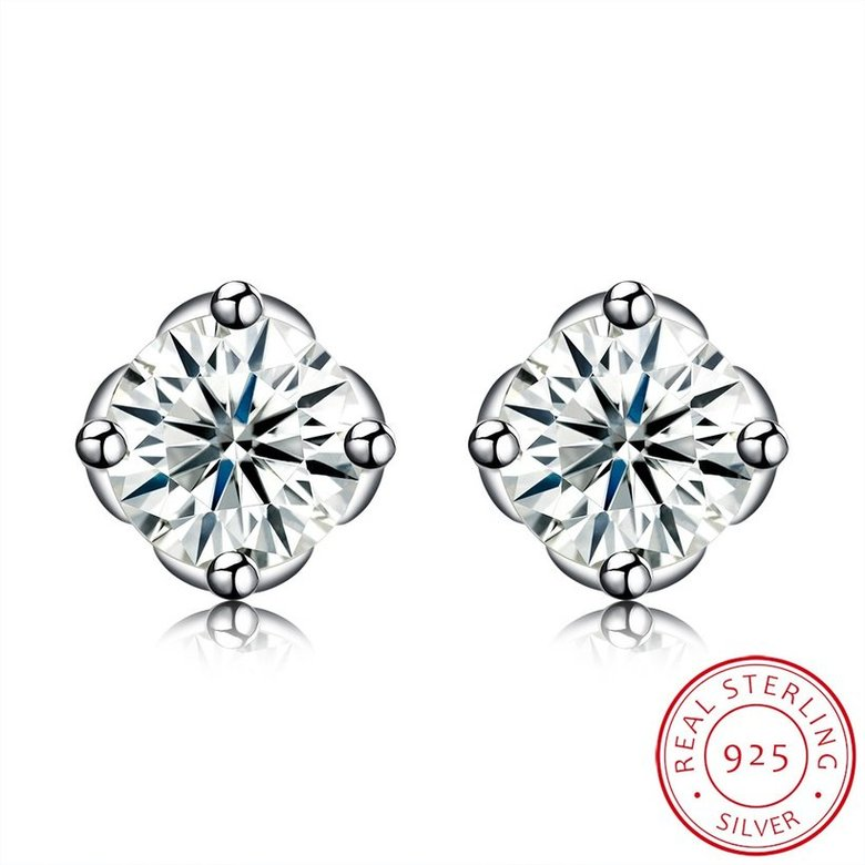 Wholesale Simple Fashion AAA Zircon Crystal Round Small Stud Earrings Wedding 925 Sterling Silver Earring for Women Girls Jewelry Gift TGSLE109