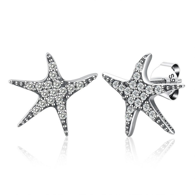 Wholesale Vintage New Fashion Anti-allergic 925 Sterling Silver Jewelry Micro-embedded Crystal Starfish Personality Exquisite Earrings TGSLE043