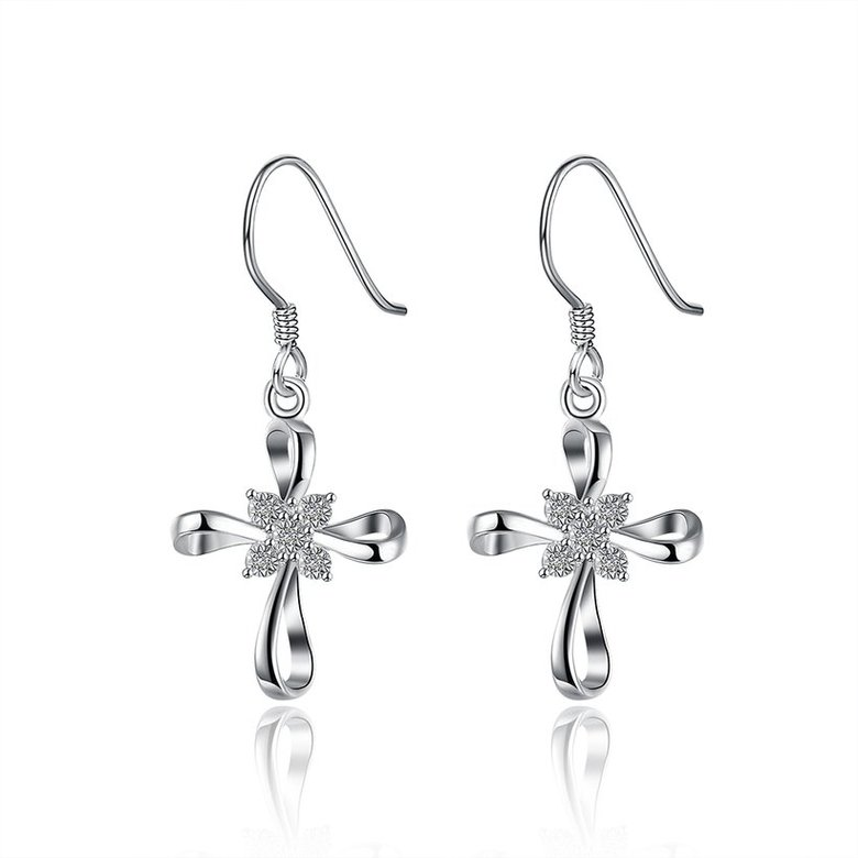 Wholesale Romantic Silver Bowknot White Dangle Earring Crystal Cross Dangle Earrings For Women New Trend Lady Fashion Jewelry  TGSPDE053