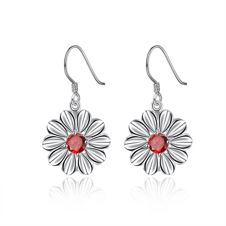 Wholesale Trendy Silver Plated red CZ Dangle Earring Purity Little Daisy Stud Earrings For Women wholesale jewelry  TGSPDE059