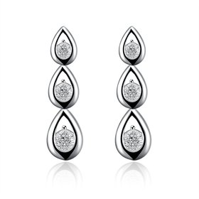 Wholesale New Arrival Silver Water Drop White  Cubic Zirconia CZ Dangle Earring Wedding Drop Earrings Bridal or Bridesmaid Jewelry TGSPDE075