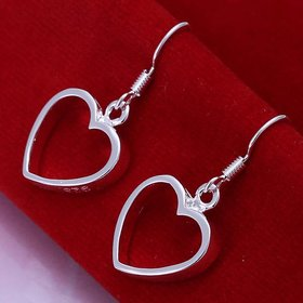 Wholesale Simple Design Silver Color Hollow Heart Drop Earrings For Women New Brand Fashion Ear Cuff Piercing Dangle Earring Gift TGSPDE192