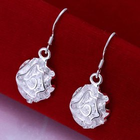 Wholesale jewelry from China rose Drop Earrings Silver Plated Indian Jewelry Vintage Bohemian Earrings Valentines Day Gift TGSPDE200
