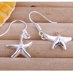 Wholesale Fashion jewelry from China Silver Sweet Smooth Surface Starfish Earrings For Women Wedding Jewelry Gift TGSPDE216