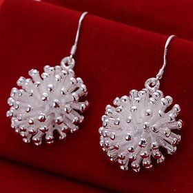 Wholesale Classic Silver plated fireworks shape Dangle Earring for women fine jewelry gift TGSPDE222
