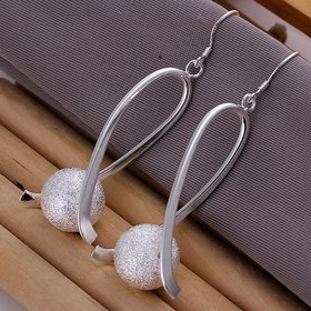Wholesale Classic Silver Ball Dangle Earring Long twist Sanding Ball Earring For Women Wedding Fashion Jewelry TGSPDE224