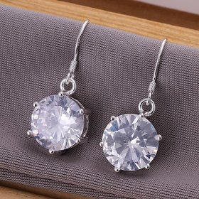 Wholesale Romantic Silver big round zircon Dangle Earring shinny elegant earring for women wedding jewelry TGSPDE240