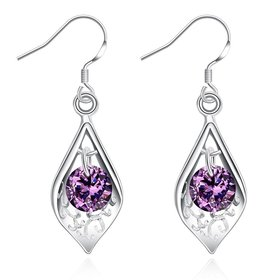Wholesale Romantic Silver water drop CZ Dangle Earring Fashion Jewelry High Quality Crystal Zircon purple Hot Selling Earrings TGSPDE258