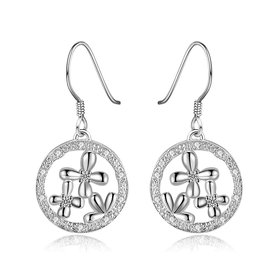 Romantic Silver plated clover Round CZ Dangle Earring New Trendy Circular Earring Drop For Women Anniversary Wedding Gift