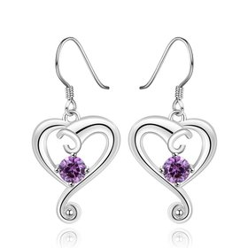Elegant purple AAA Zircon Earrings for Women Fashion heart Water Drop Crystal Dangle Earring Wedding Party Jewelry Gift