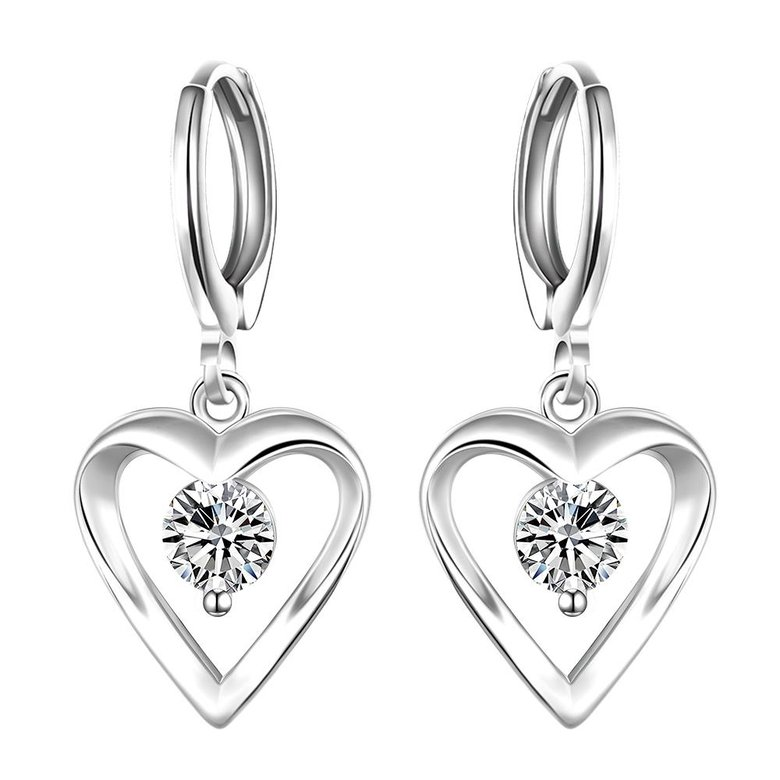 Wholesale Romantic Silver plated  Heart CZ Dangle Earring delicate wedding and daily collocation jewelry  TGSPDE094
