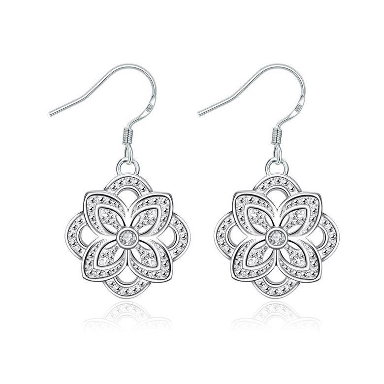 Wholesale Classic Silver Plated flower CZ Dangle Earring New Trendy Circular Earring Drop For Women Anniversary Wedding Gift Jewelry TGSPDE028