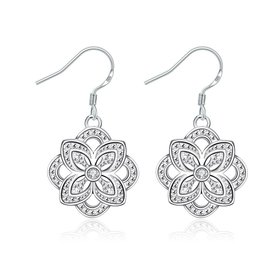 Classic Silver Plated flower CZ Dangle Earring New Trendy Circular Earring Drop For Women Anniversary Wedding Gift Jewelry