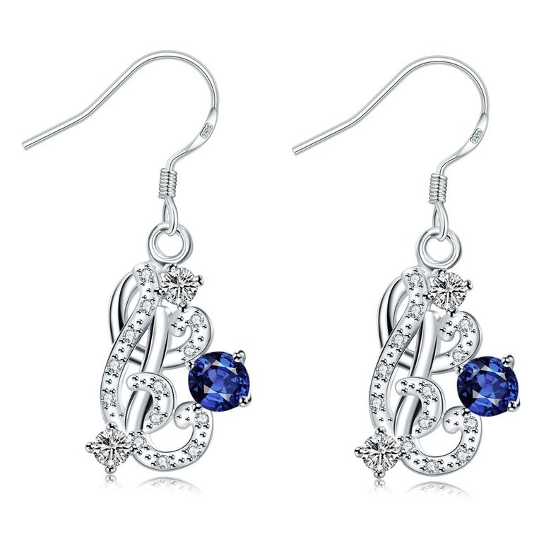 Wholesale Classic Silver Geometric Dangle Earring Blue crystal long Drop Earrings For Women Bridal Wedding Jewelry Gifts TGSPDE068