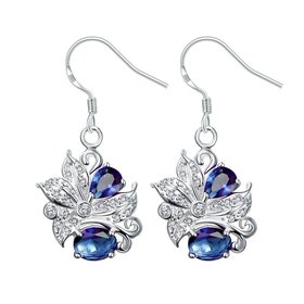 Wholesale Classic Silver Geometric Dangle Earring Blue crystal Drop Earrings For Women Bridal Wedding Jewelry Gifts TGSPDE074