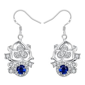 Wholesale Classic Silver Geometric Dangle Earring Blue crystal Drop Earrings For Women Bridal Wedding Jewelry Gifts TGSPDE077