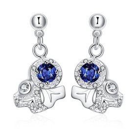 Wholesale Unique Art Silver CZ Dangle Earring Trendy blue crystal earring for party jewelry TGSPDE005