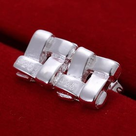 Wholesale Fashion Silver plated Stud Earrings Geometric knit Square For Women Birthday party Trendy Accessories New gift  TGSPE130