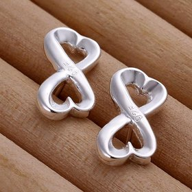 Wholesale Romantic Curve 8 shape Fashion Silver Stud Earring For Women Making Fashion wedding party Gift TGSPE138