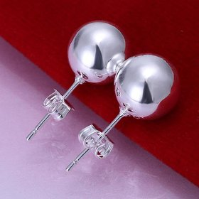 Wholesale High Quality Silver plated Round Circle Solid Ball Bead Stud Earring Woman Fashion Wedding Engagement Jewelry TGSPE147