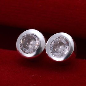 Wholesale Fashion Jewelry Stud Earrings For Women Silver Plated Inlaid Round Cubic Zircon Female Girl Simple Wedding Earring TGSPE154