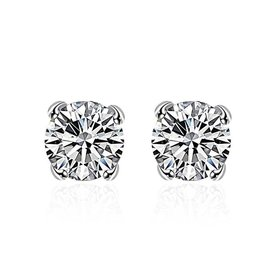 Wholesale Romantic Fashion Jewelry Stud Earrings For Women Silver Plated Inlaid Round Cubic Zircon Female Girl Simple Wedding Earring TGSPE158
