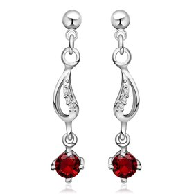 Wholesale Luxury delicate red zircon Earrings Boho Unique Fashion Silver Color Drop Earring Vintage Wedding Earrings For Women TGSPE004