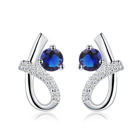 Wholesale Romantic Top Qualit Silver plated Earrings Female Accessories blue Zircon Geometric Earrings For Girls Lady Party Accessories TGSPE043