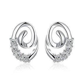 Wholesale Trendy Silver hot seller of CZ Stud Earring wreath Earring delicate Wedding Earrings For Women TGSPE006