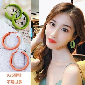 Wholesale Fashion Candy Color Sexy Big Circle Hoop Earrings For Women Green Orange  Earring Wedding Party Jewelry VGE005
