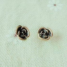 Wholesale KISSWIFE 2020 New Elegant wholesale jewelry black rose Flower Ladies Gold Earrings VGE026