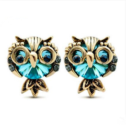 Wholesale Jewelry Crystal Owl Stud Earrings For Women Vintage Gold Color Animal Statement Earrings VGE036