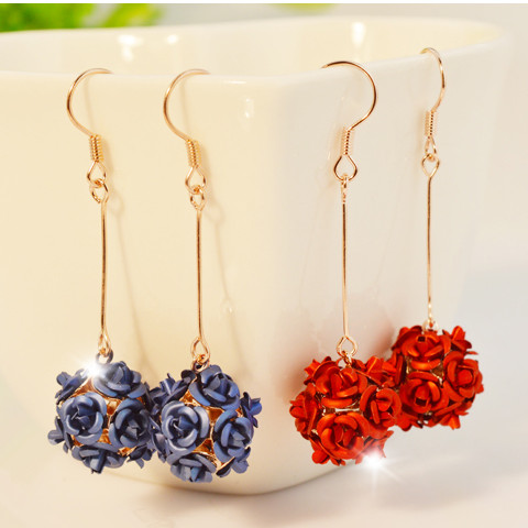 Wholesale New Fashion Lady  Rose Flower Earring  For Women Vintage Jewelry VGE037