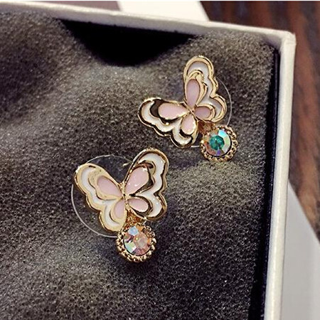 Wholesale Sweet pink  Butterfly Stud Earrings Delicate Gold Color Mini Ear Studs Trendy Ear Nails For Women Girls Jewelry Gift VGE046 0