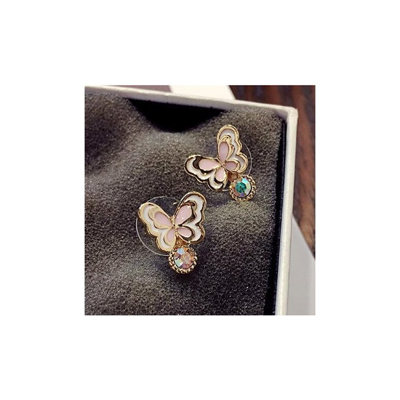 Wholesale Sweet pink  Butterfly Stud Earrings Delicate Gold Color Mini Ear Studs Trendy Ear Nails For Women Girls Jewelry Gift VGE046