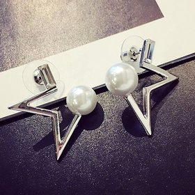 Wholesale New fashion delicate pearl crystal Star temperament Women Drop earrings creative Jewelry  VGE065